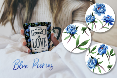 Cool blue Peonies PNG watercolor flower set