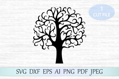Tree svg, Family tree svg file, Black tree clipart, Tree cut file