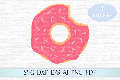 Pink donut svg, Cute donut clipart, Donut cut file, Sprinkle svg file