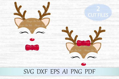 Reindeer svg, Reindeer cut file, Christmas svg, Christmas clipart