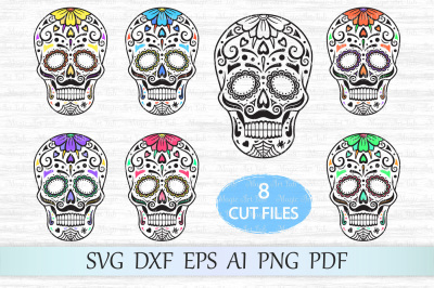 Sugar skull SVG, Day of the dead SVG, Halloween SVG, Candy skull SVG