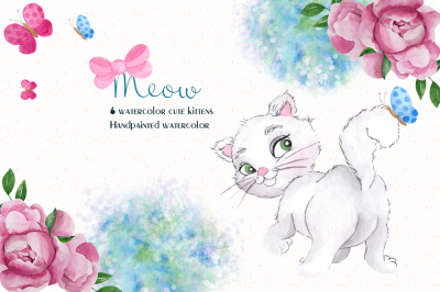 Cute kittens. Watercolor clipart