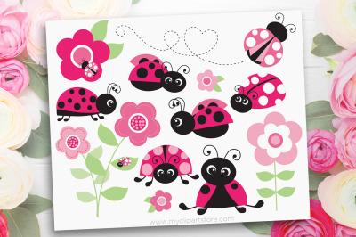 Ladybug Garden (Pink) Vector SVG Clipart