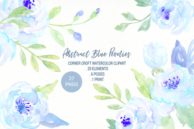 Abstract Blue Peony Clip Art