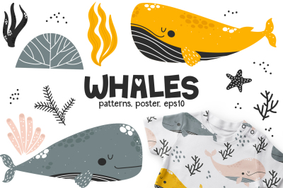 Whales - Cute Characters