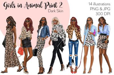 Watercolor Fashion Clipart - Girls in Animal Print 2 - Dark Skin