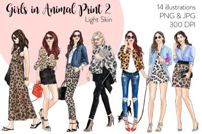Watercolor Fashion Clipart - Girls in Animal Print 2 - Light Skin
