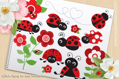 Ladybug Garden (Red) Vector SVG Clipart