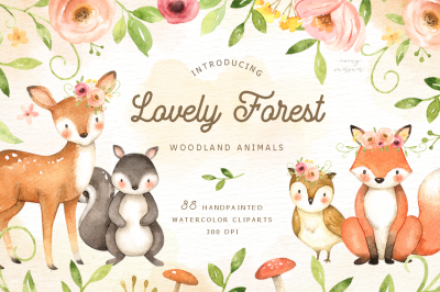Lovely Forest Watercolor Clip Art