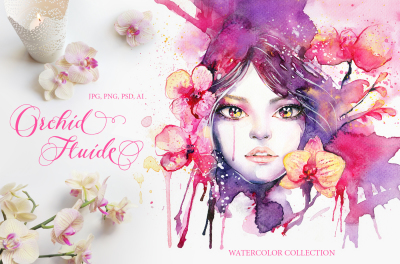 Orchid Fluide: Watercolor Collection
