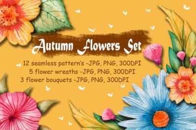 Watercolor Autumn Flowers