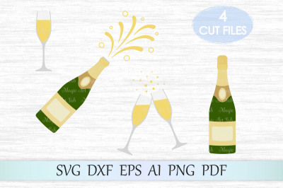 Champagne bottle svg, champagne svg, Christmas svg, Glasses svg
