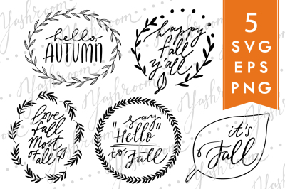 Hello, fall! - Silhouette SVG, EPS, PNG Collection
