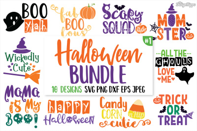 Halloween SVG Bundle, Cute Halloween SVG, PNG, DXF, Cut Files, Cricut