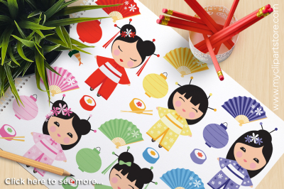 Kokeshi Dolls / Japanese / Chinese Princess Vector Clipart