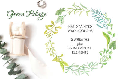 Green foliage watercolor wreaths and elements