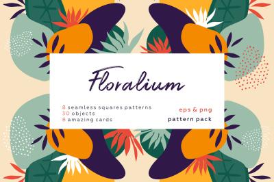Floralium. Hand drawn patterns set.