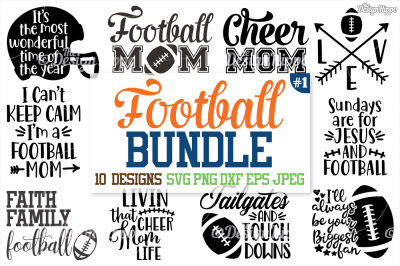 Football SVG Bundle, Football Mom Bundle, Mama, SVG, PNG DXF Cut Files