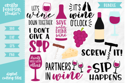 Wine Bundle SVG DXF - 13 Designs