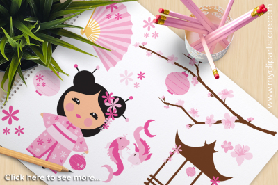 Kokeshi Doll / Lotus Flower Princess Vector Clipart