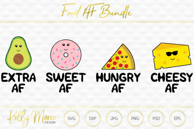 Food AF SVG File Bundle | Cut File | Silhouette | Cricut