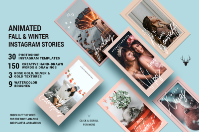 Fall & Winter ANIMATED Instagram Stories - Christmas Insta Templates