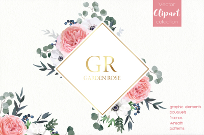 Vector Floral Design Set - Garden Rose