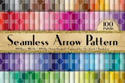 100 Seamless Arrow Pattern Digital Papers 12 x 12 inch