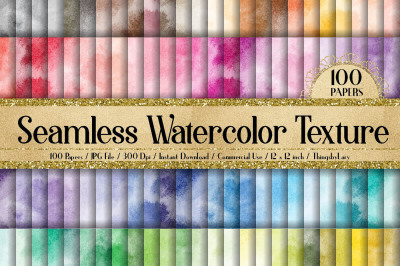 100 Seamless Watercolor Texture Digital Papers 12 x 12 inch