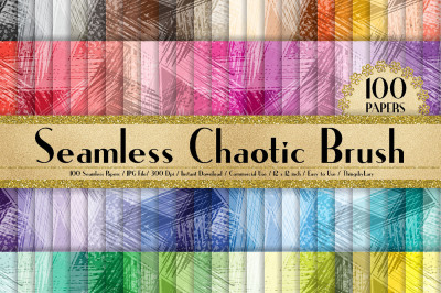 100 Seamless Chaotic Brush Stroke Digital Papers 12x12 inch