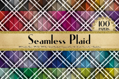100 Seamless Plaid Pattern Digital Paper 12 x 12 inch
