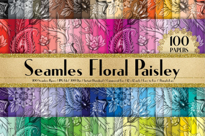 100 Seamless Floral Paisley Digital Paper 12 x 12 inch