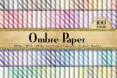 100 Watercolor Diagonal Striped Digital Papers 12 x 12 inch