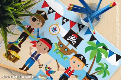 Boy Pirates Vector Clipart