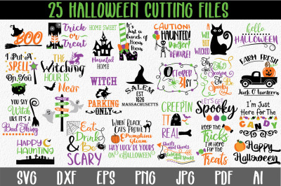 Halloween Bundle with 25 SVG PNG DXF EPS AI JpG Cut Files