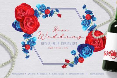 Rose Wedding Red and Blue Design Set