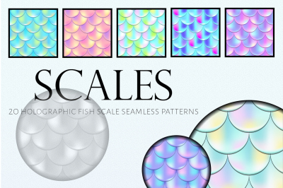 Holographic Fish Scale Vector Seamless Pattern