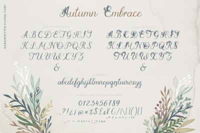 Autumn Embrace Floral Font + EXTRAS