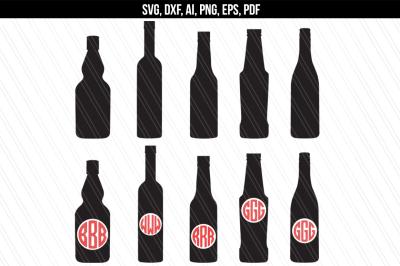Bottles svg, Bar bottles svg,Bottles monogram svg,dxf,eps,png,pdf,ai