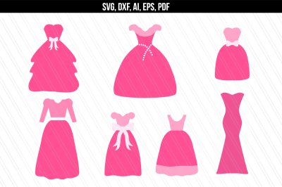 Princess dress svg, Wedding dress SVG, Cinderella Dress SVG, DXF
