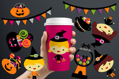 Halloween Kids and Sweets Graphics and Illustrations