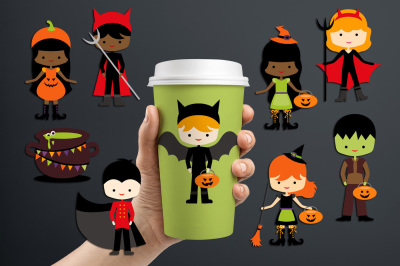 Kids in Halloween Costumes, Graphics and Illustrations