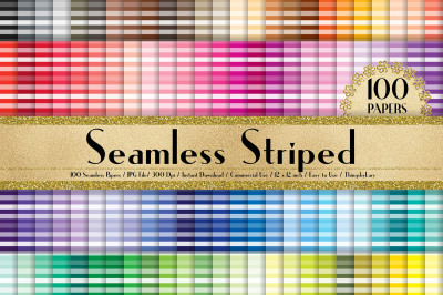 100 Seamless Striped Pattern Digital Papers in 100 Colors