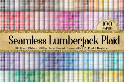 100 Seamless Watercolor Lumberjack Plaid Digital Papers