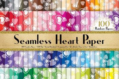 100 Seamless Heart Digital Papers, Valentine Digital Papers
