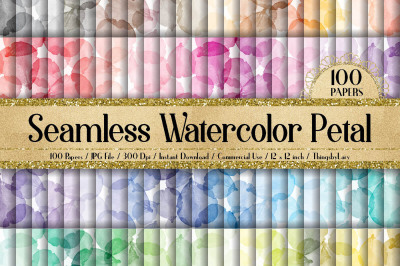 100 Seamless Watercolor Flower Petal Digital Papers