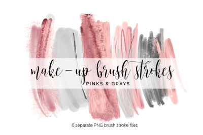 Brush Strokes Clipart - pink and grays