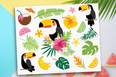 Tropical Toucan Clipart, Vector, Sublimation, SVG