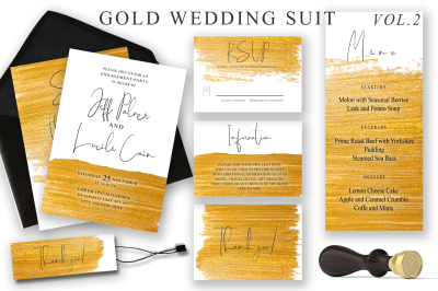 Gold Wedding Cards Suit Vol.2