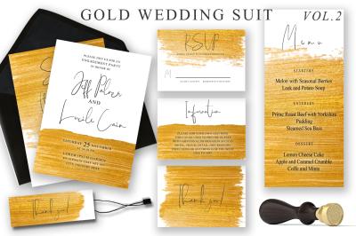 Gold Wedding Cards Suit Vol.2